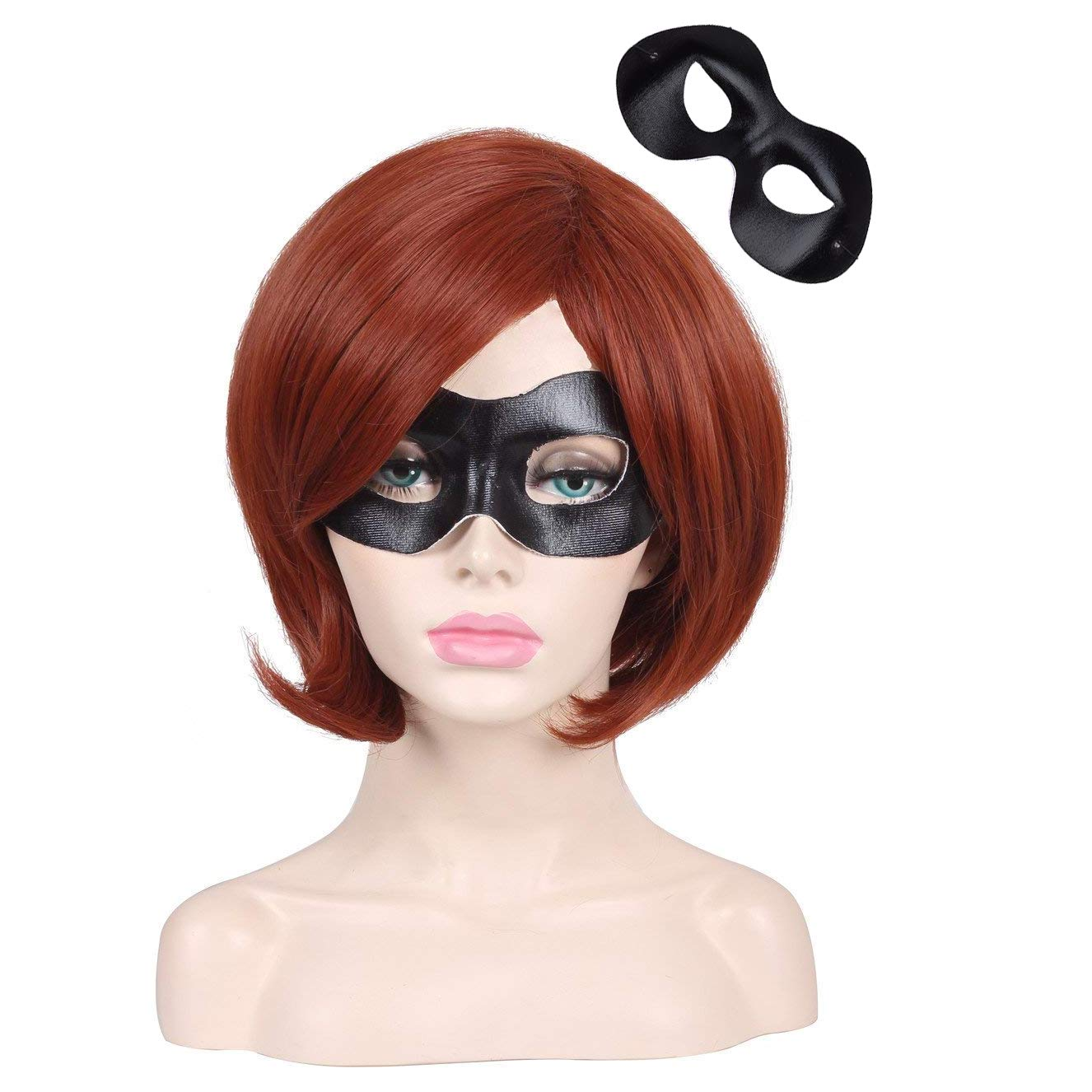 ColorGround Short Reddish Brown Prestyled Cosplay Wig and Eye Mask for Women by ColorGround