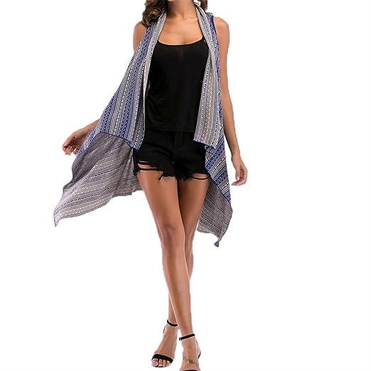 e4f760956ae4 Mose Long Women s Vest Fashion Women s Loose Gradient Print Knit Cardigan  Irregular Retro Print Sleeveless Coat