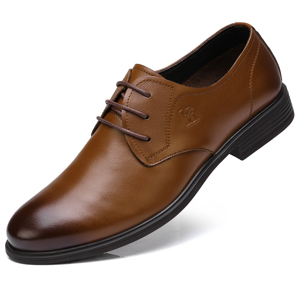 Camel Classic Men's Super Soft Calfskin Leather Oxford Dress Shoes Lace up Leather Lined Perforated Tuxedo Shoes