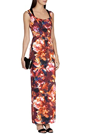 85056ed088 Karen Millen Matt Signature Satin Ballgown Pencil Maxi Dress - DX196 (UK 8  / EU 36 / US 4, Multi(Red White Brown Blue Black)): Amazon.co.uk: Clothing