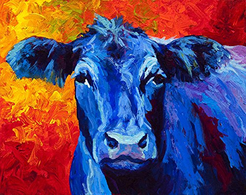 MRR004 Modern Canvas Wall Art for Home and Office Decoration Marion Rose Premium Thick-Wrap Canvas Wall Art Print Blue Cow by Canvas on Demand ,24X30 Inch,canvas Prints Giclee Artwork for Wall Decor