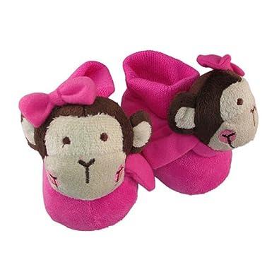Amazon.com | Infant Toddler Girl Pink Monkey Slippers Sock Top ...