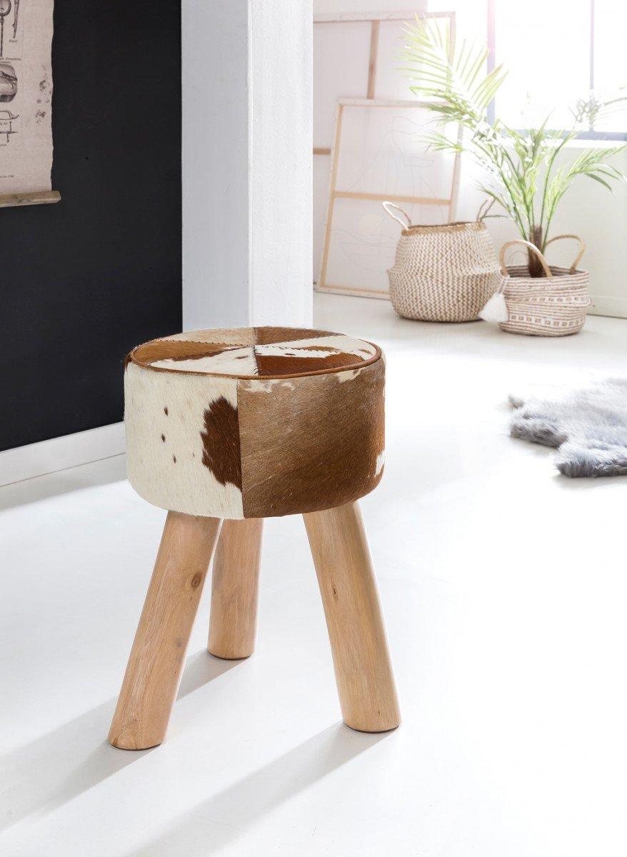 FineBuy cuir Tabouret design en cuir de chèvre brun - blanc 35 x 35 x 45 cm | tabourets en cuir Ottoman | Tabouret
