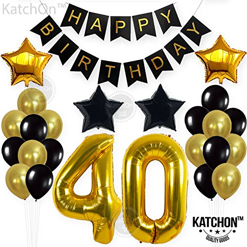 KATCHON 1 11 Decorations Happy Birthday Banner, 40th Balloons,Gold and Black, Number Perfect 40 Years Old Par, M by KATCHON (Image #6)