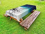Ambesonne Driftwood Outdoor Tablecloth, Seascape Theme Driftwood on The White Sandy Beach Coastal Digital Image, Decorative Washable Picnic Table Cloth, 58 X 84 inches, Turquoise and Blue