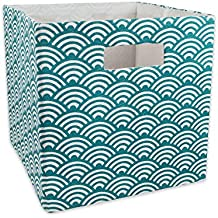 """DII Hard Sided Collapsible Fabric Storage Container for Nursery, Offices, & Home Organization, (11x11x11"""") - Waves Teal"""
