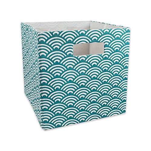 DII Hard Sided Collapsible Fabric Storage Container for Nursery, Offices, & Home Organization, (11x11x11) - Waves Teal