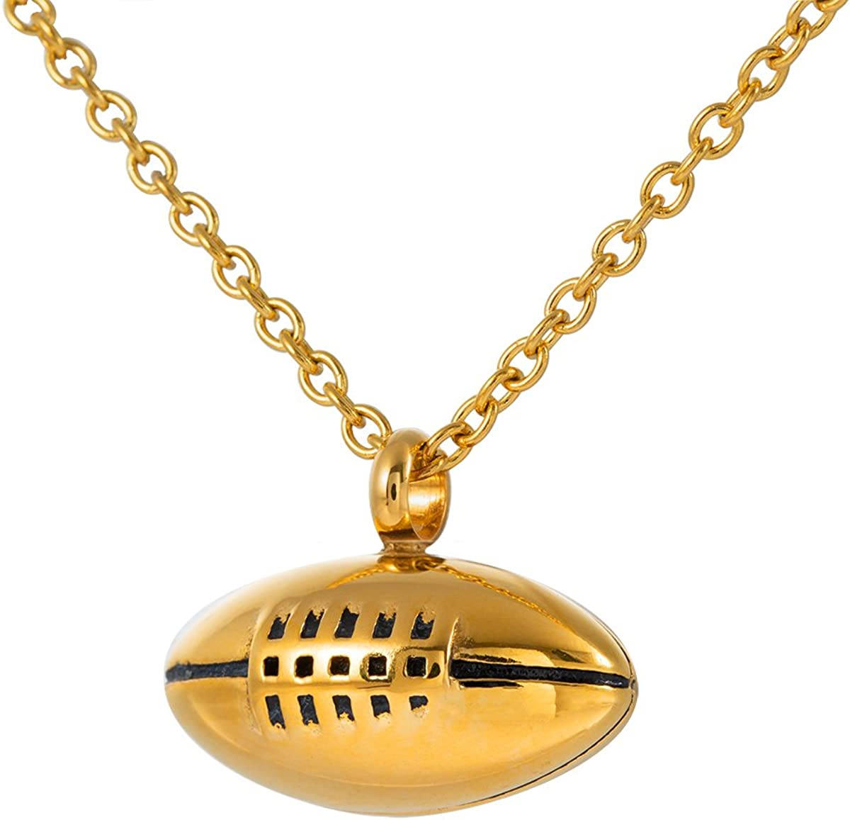 Rugby Pendant Necklace Men Jewelry Fashion Wheat Chain American Style Football Pendant Cremation Jewelry
