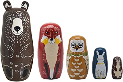 5Pcs Wooden Whale Penguin Animal Matryoshka Nesting Dolls Figurines Kids Toy USA