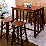 Merax 5 PCS Dining Table Set for 4 Bar Table and Stools (Walnut)