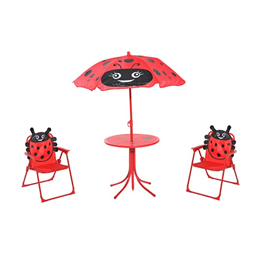 HOMCOM Kids Garden Picnic Table Chair With UV Umbrella Foldable Patio Set  Lady Bug Print Play Part 43