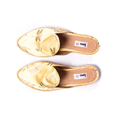 Luna Shoes Womens Yellow Satin Mules Shoes Flats ...