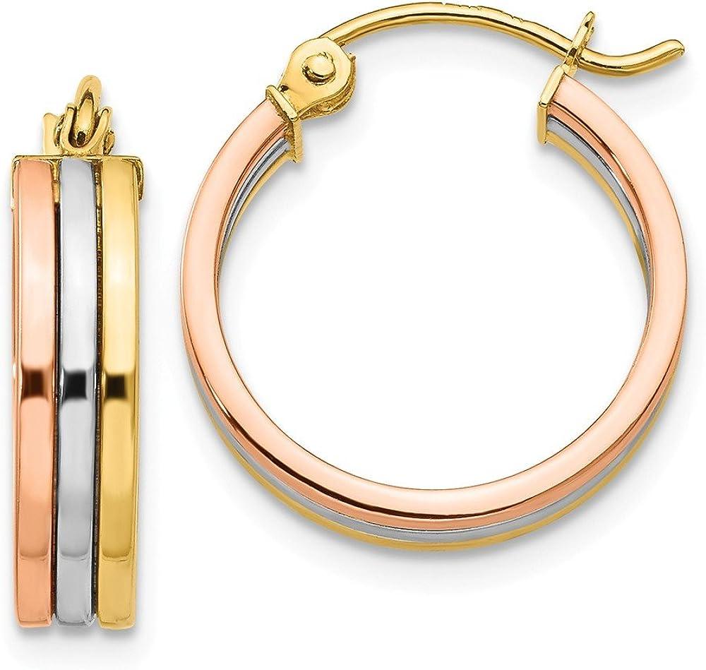 14K Tri Color Hoop Earrings
