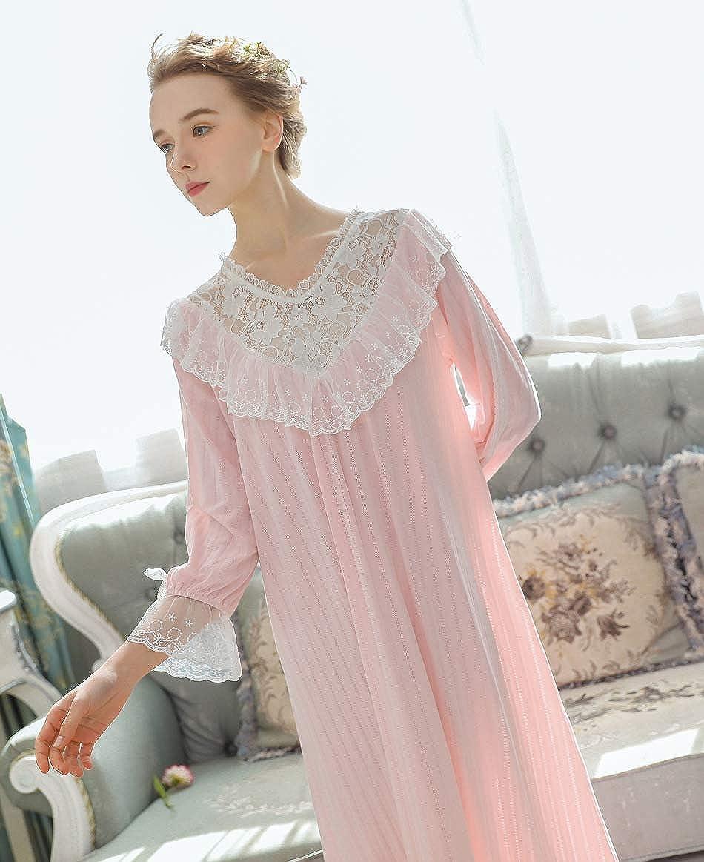OKSakady Donne Manica Lunga Cotone Camicia da Notte Lunghezza Midi Pizzo Principessa Notte Vestito Pajama Vestito