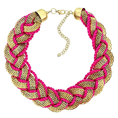 [Indian Fashion Jewelry Hot Pink Thread Chain Necklace For Women] (Asian Indian Costume Jewelry)