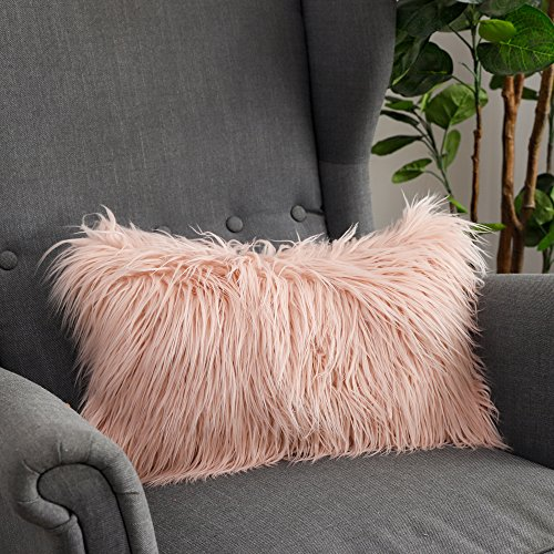 LANANAS Luxury Soft Plush Faux Fur Throw Pillow Covers for Couch Decorative Mongolian Fur Throw Pillow Covers, (Pink, 12X 20)