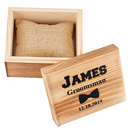 Personalized Printed Wooden Watch Box For Men Watch Organizer Groomsman Gifts Custom Watch Case