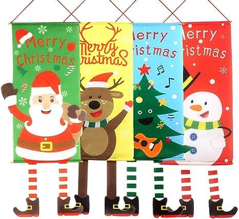 Kukiu Navidad Colgante Bandera Santa Claus Duende muñeco de Nieve Puerta Pared pancartas jardín decoración del hogar: Amazon.es: Deportes y aire libre
