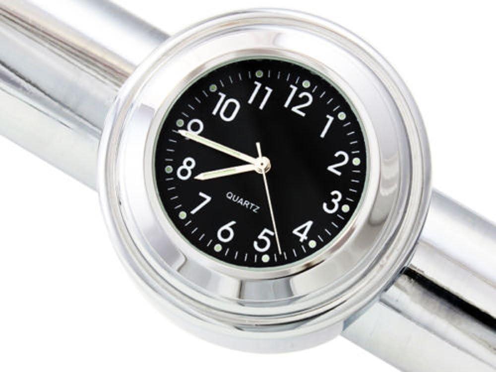 Wpond 22-25mm Motorrad Lenker Uhr Thermometer Wasserdichtes Zifferblatt Lenkerhalterung f/ür Yamaha Kawasaki etc Black dial Clock Thermometer