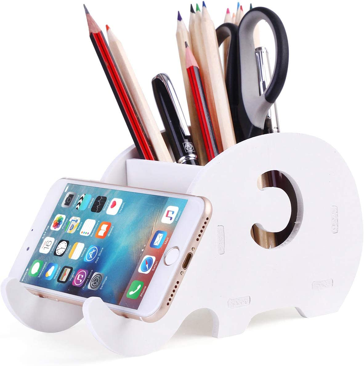 COOLBROS Elephant Pencil Holder With Phone Holder Desk Organizer Desktop Pen Pencil Mobile Phone Bracket Stand Storage Pot Holder Container Stationery Box Organizer (White)