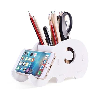 Soporte de teléfono celular, COOLBROS Porta-lápiz de elefante de madera con teléfono Organizador