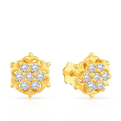 ceaa6990d Buy Malabar Gold and Diamonds 22k (916) Yellow Gold and Cubic Zirconia Stud  Earrings Online at Low Prices in India | Amazon Jewellery Store - Amazon.in
