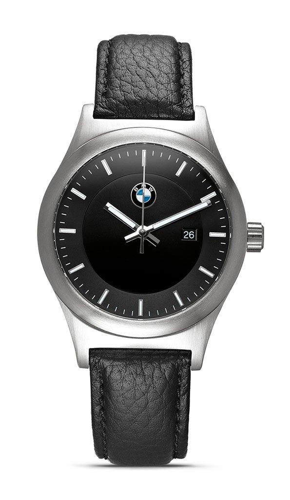Original BMW Herren Armbanduhr Uhr Classic Edelstahl mit Armband Leder schwarz