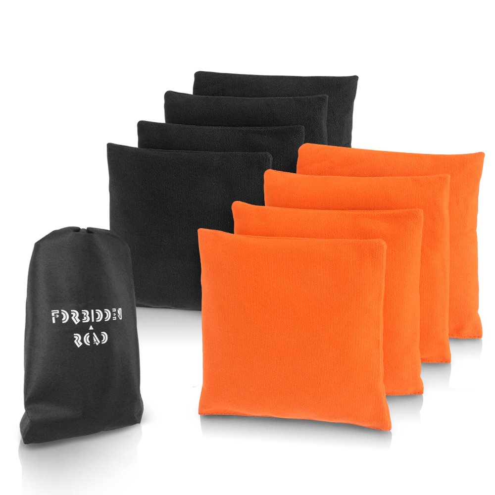 Forbidden Road Cornhole Bag Bean Bags Pack of 8 for Tossing Core Hole Games with Duck Canvas Material Cover and PP Plastic Pellets Inside - Free Carrying Bag Included (Orange & Black, 14OZ)