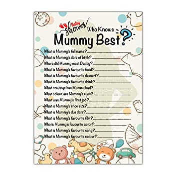 Who Knows Mummy Best Baby Shower Party Games Set Of 10 Cards Baby