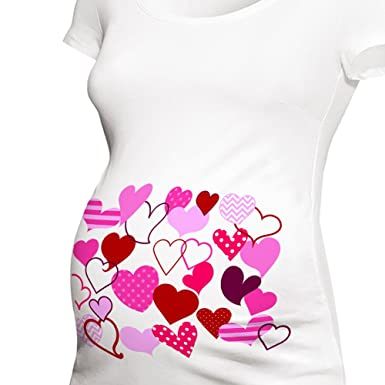 09d29677c9c97 Zoey's Attic Valentine's Day Maternity Shirt Fun Scribble Hearts (Small,  Short Sleeve ...
