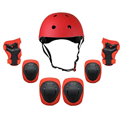 L.J.JZDY Lumbar Support Knee and Elbow Pads with Wrist Guards Protective Gear Set Outdoor Activities Roller Skating for Kids Adults Back Support Belt (Color : Red, Size : S) : Sports & Outdoors