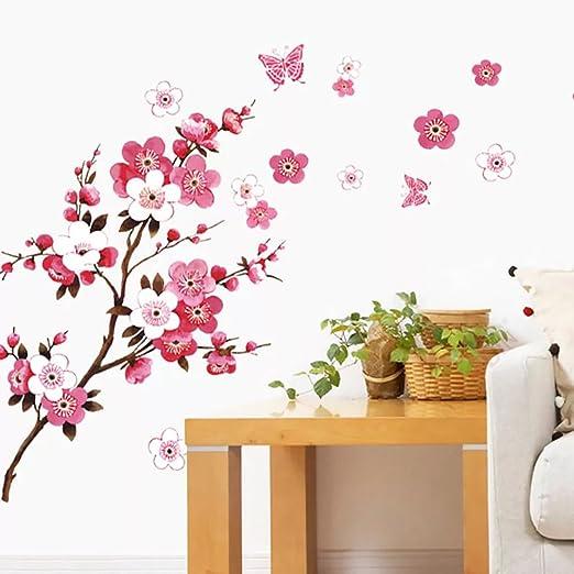Blume mit 3 Schmetterlingen Wandtattoo