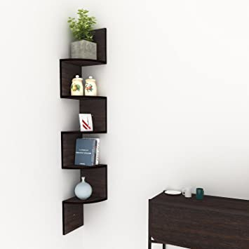 Keland 5 Tier Wall Mount Corner ShelvesModern Display Shelf Zig Zag Floating Shelves