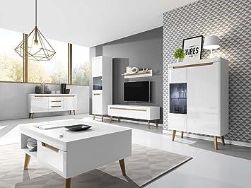 Wohnzimmer Set NORDI Kommode Vitrine Couchtosch Tv Schrank Hängeregal In  Weß Hochglanz Mit LED Beleuchtung Skandinavische