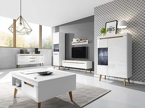 Wohnzimmer Set NORDI Kommode Vitrine Couchtosch Tv Schrank Hängeregal in  Weß Hochglanz Mit LED beleuchtung Skandinavische Stil