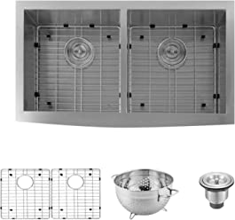 03ad6d6287 DAX Handmade Farmhouse 50/50 Double Bowl Kitchen Sink, 16 Gauge Stainless  Steel,
