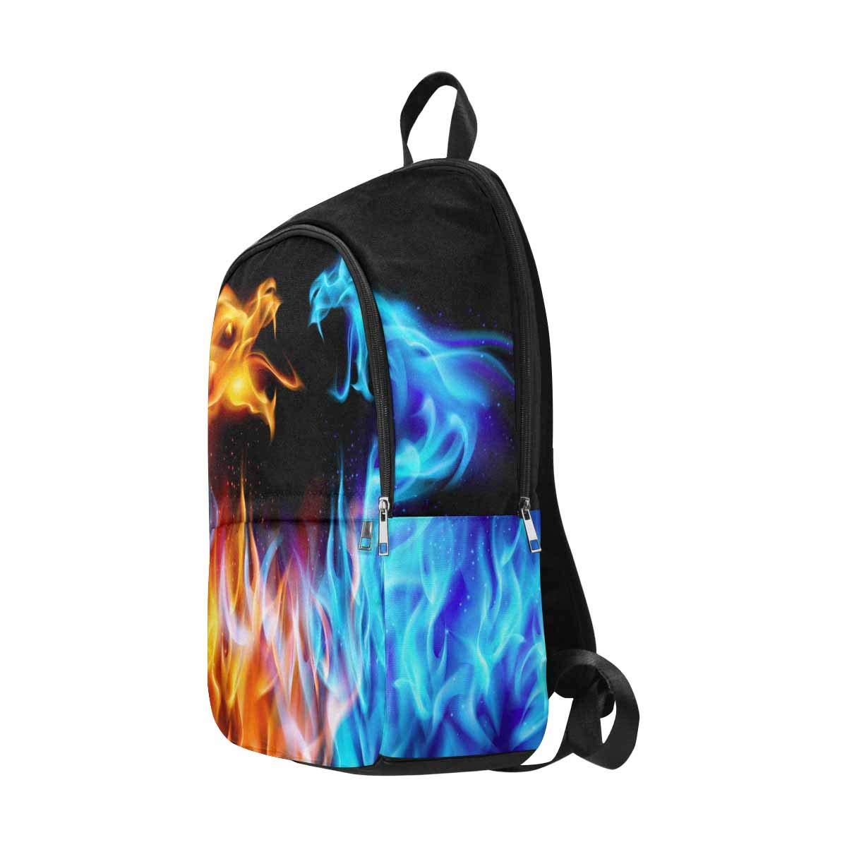 InterestPrint Blue Red Fiery Dragons Custom Casual Travel Laptop Backpack Bookbag Daypack