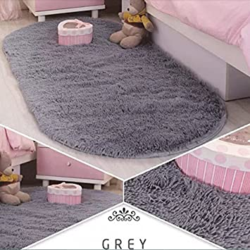 Ustide Boys Bedroom Rug Grey High Pile Living Room Carpet Fluffy Floor Runner Rugs Non