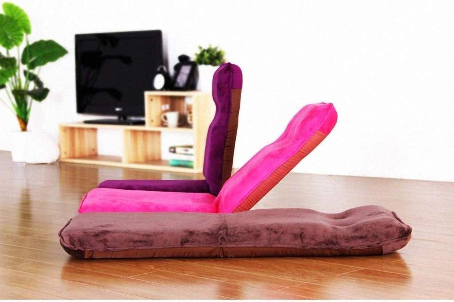 GCX- Folding Lazy Sofa Bedroom Single Tatami Erker Slaapbank Kleine Fauteuil Eenvoudige soft (Color : Chenille Fabric Brown) Rose Red