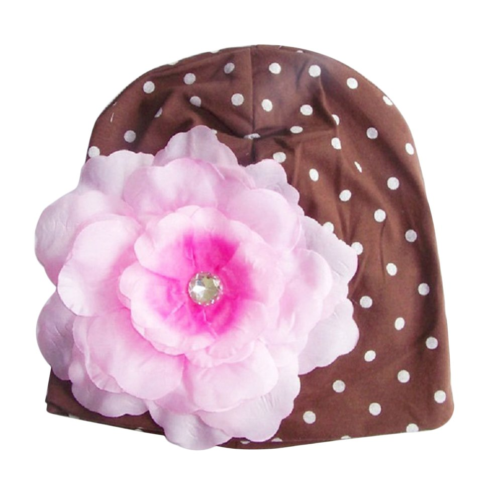Verypoppa Baby Girls Cotton Hats with Big Flower for 6-24 Months