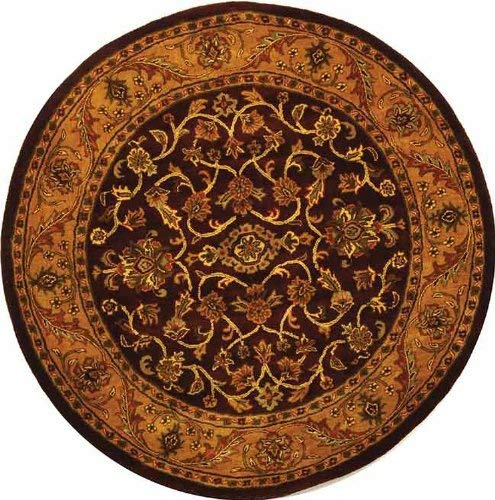Safavieh Golden Jaipur Collection GJ250C Handmade Burgundy and Gold Premium Wool Round Area Rug (6' Diameter)