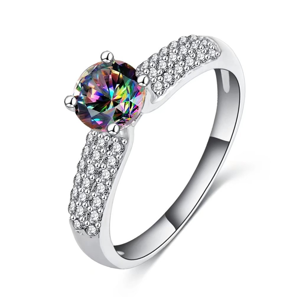 FENDINA Women's 18K White Gold Plated Created Sparkle Rainbow Topaz Three Rows Clear Cubic Zirconia Bridal Solitaire Rings Size 7