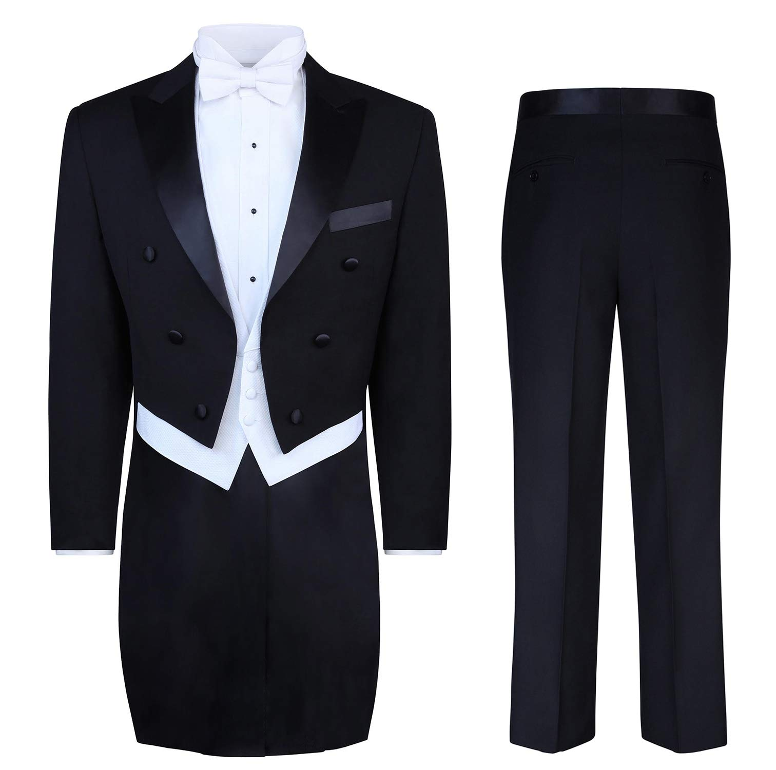 S.H. Churchill & Co. Black Tailcoat Tuxedo & Tuxedo Pants - 52 Regular by S.H. Churchill & Co.