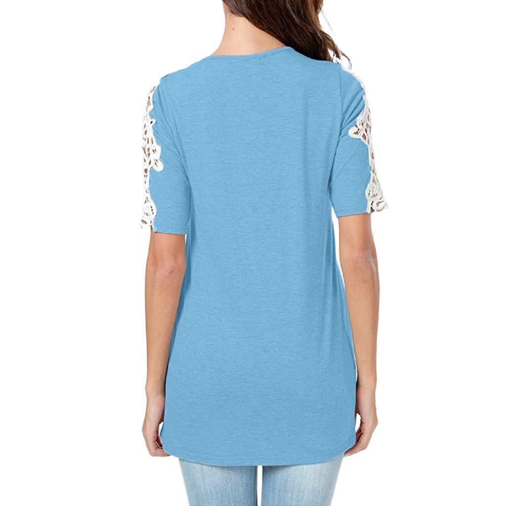 Luckycat Camisetas para Mujer Blusas Tops Camisetas Lentejuelas Chispa Mitad Manga tee Tops: Amazon.es: Ropa y accesorios