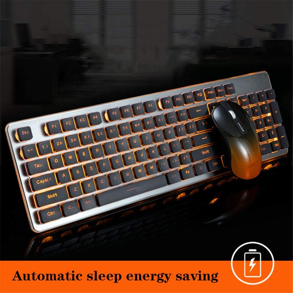 WANGJIANGLI Wireless 2.4G Gaming Keyboard and Mouse Set,Rechargeable Silent Wireless Gaming Mice and Keyboard Combos for Gamers and Typists,A