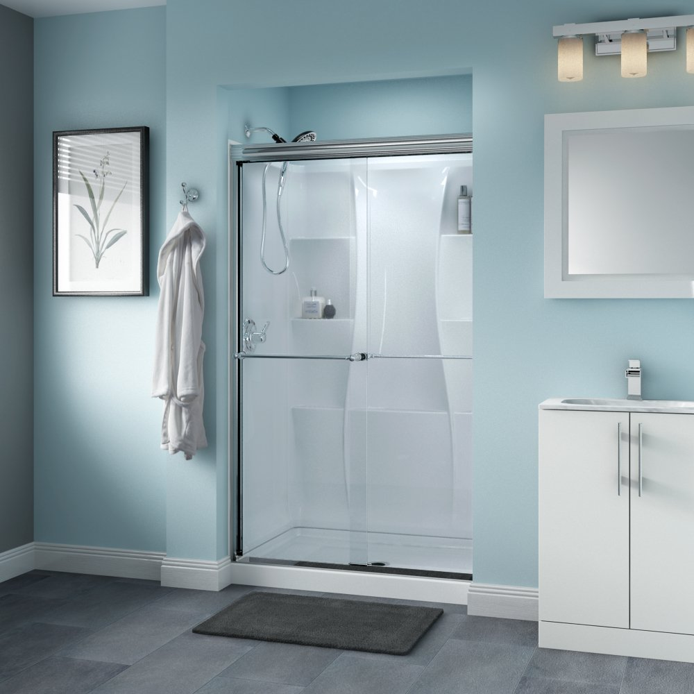 Delta Shower Doors SD3276443 Windemere Semi-Frameless Traditional Sliding Shower Door 48in.x70in Handle, Chrome Track
