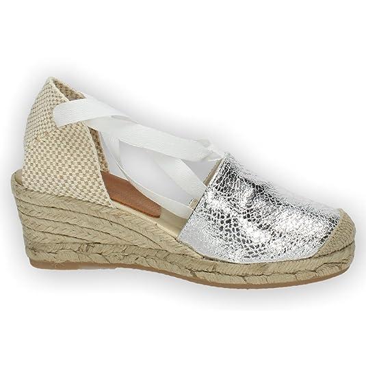 TORRES 5000 Valenciana Plateada Mujer Alpargatas: Amazon.es: Zapatos y complementos
