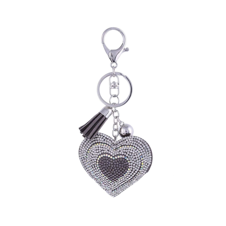 Amazon com: Heart Keychain Leather Tassel Gold Key Holder