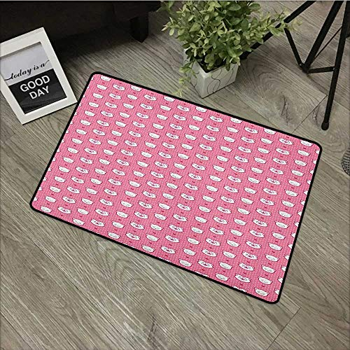 Clear printed pattern door mat W35 x L47 INCH Cat,Adorable Funny Kitten Faces Expressions Smiling Furry Cartoon Characters on Polka Dots, Pink White Natural dye printing to protect your baby's skin No