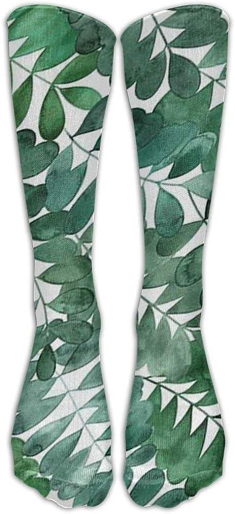 Womens Leaf Casual Knee Socks 19 Inches Long Sport Compression Tube Socks